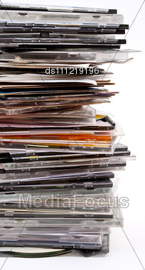 Pile Of Optical Disc Cases Stock Photo