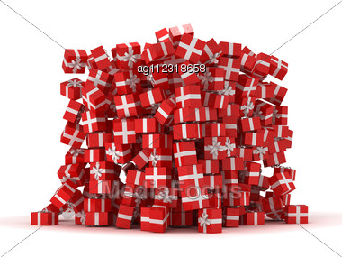Pile Of Red Gift Boxes With Presents Over White Stock Photo