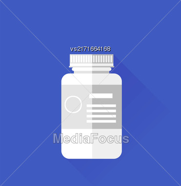 Pill White Plastic Bottle Isolated On Blue Background. Long Shadow Stock Photo