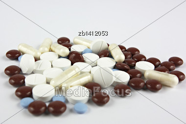 Pills, Medicals, Drugs, Tablets In Different Colors, Unpacked Stock Photo
