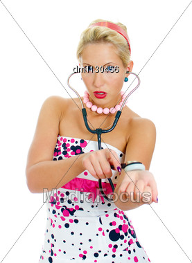 Pin-up Portrait Of Woman Checks The Pulse. Isolated On White. Stock Photo