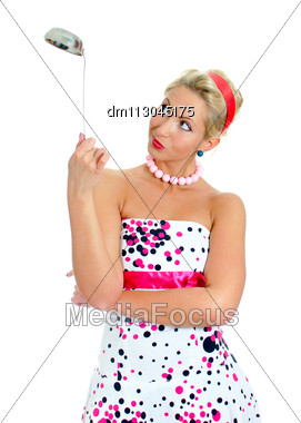 Pin-up Portrait Of Woman With Ladle. Isolated On White. Stock Photo