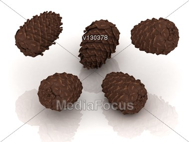 Pine Cones Thrown Up Into The Air Stock Photo