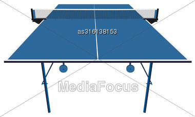 Ping Pong Blue Table Tennis. Vector Illustration Stock Photo