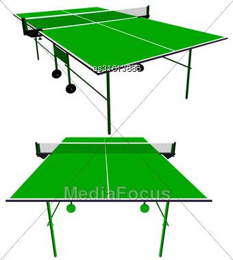 Ping Pong Green Table Tennis. Vector Illustration Stock Photo
