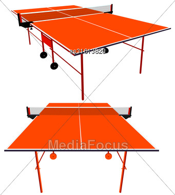 Ping Pong Orange Table Tennis. Vector Illustration Stock Photo