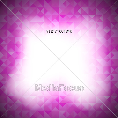 Pink Background With Geometric Shapes, Triangles. Old Mosaic. Pink-Mosaic-Banner. Geometric Hipster Red Pattern With Place For Your Text. Graphic Template Background Stock Photo