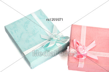 Pink And Blue Boxes Stock Photo