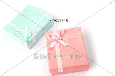 Pink And Blue Gift Boxes Stock Photo