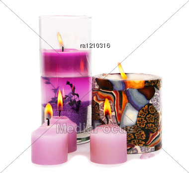 Pink Burning Candles Stock Photo