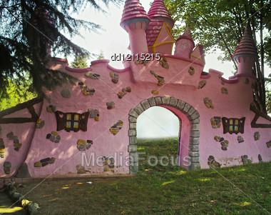 Pink castle Stock Photo