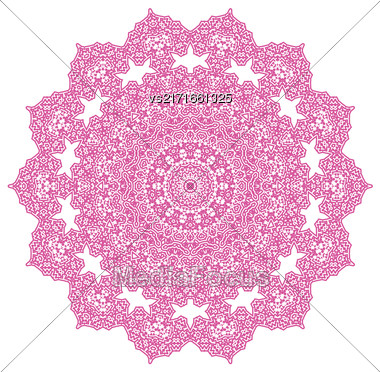Pink Circle Ornament Isolated On White Background Stock Photo