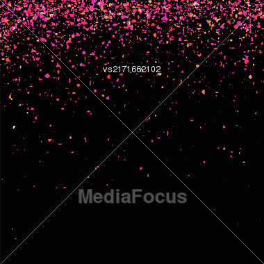 Pink Confetti Isolated On Black Background. Abstract Pink Parts Stock Photo
