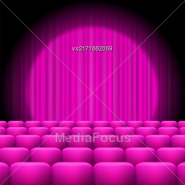 Pink Curtains With Spotlight And Seats. Classic Cinema With Pink Chairs Stock Photo