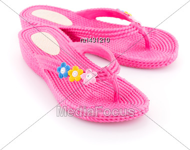 Pink Flip Flops Isolated On White Background Stock Photo