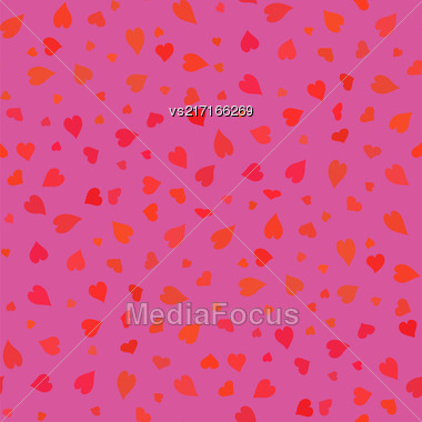 Pink Hearts Seamless Pattern. Valentines Day Background. Symbol Of Love Stock Photo