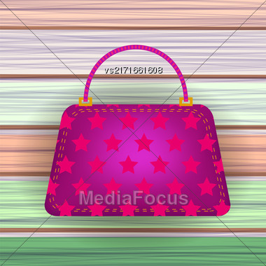 Pink Modern Womens Handbag On Colorful Planks Background Stock Photo
