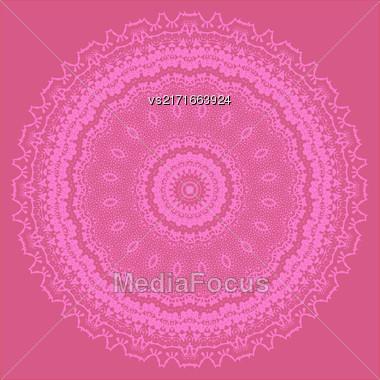 Pink Ornamental Line Pattern. Endless Texture. Oriental Geometric Ornament Stock Photo