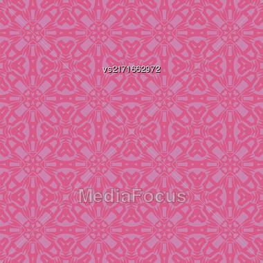 Pink Ornamental Seamless Line Pattern. Endless Texture. Oriental Geometric Ornament Stock Photo