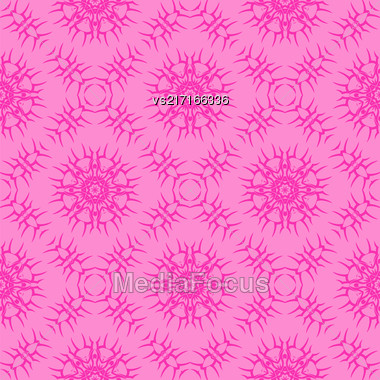 Pink Ornamental Seamless Line Pattern. Endless Texture. Oriental Geometric Ornament Stock Photo