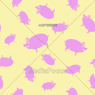 Pink Pig Seamless Pattern On Yellow Background Stock Photo