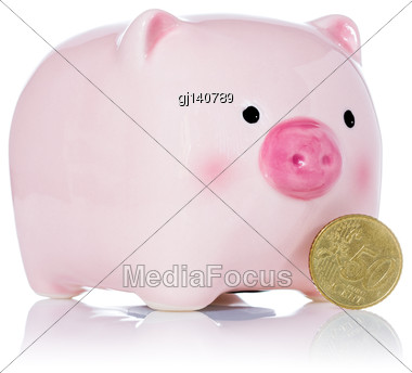 Pink Piggy Bank And Fifty Euro Cent Isolated On White Background Stock Photo
