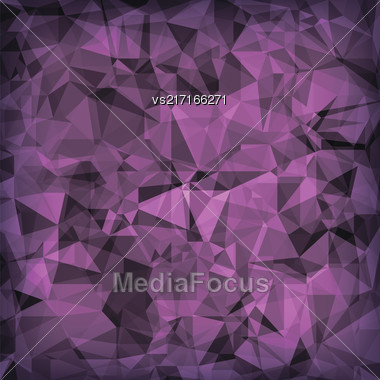 Pink Polygonal Background. Pink Crystal Triangle Pattern Stock Photo