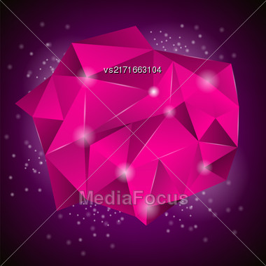 Pink Polygonal Stone Isolated On Dark Background Stock Photo