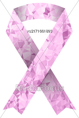 Pink Ribbon Isolated On White Background. Breast Cancer Awareness Pink Ribbon Stock Photo