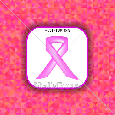 Pink Ribbon On White Paper Sticker. Breast Cancer Awareness Pink Ribbon On Pink Polygonal Background Stock Photo