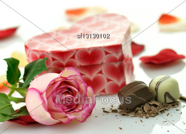 Pink Rose And Gift Box Stock Photo