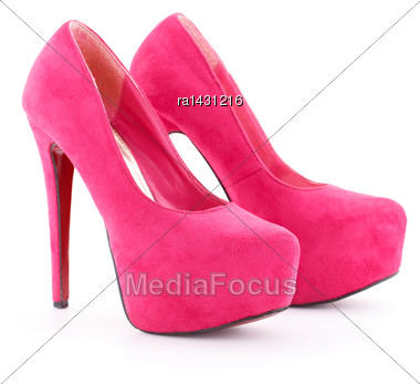 Pink Shoes Isolated On White Background Stock Photo