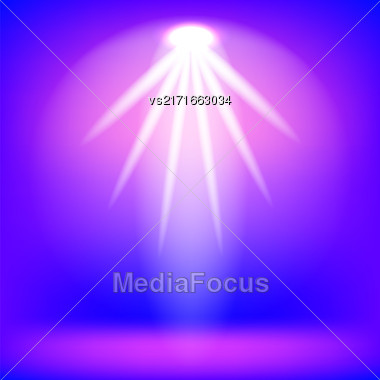 Pink Spotlight Isolated On Blue Background.Stage Spotlight Background Stock Photo