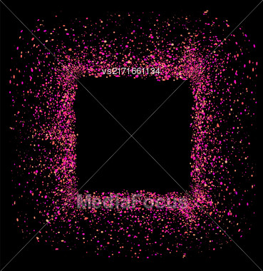 Pink Square Frame Isolated On Black Background Stock Photo