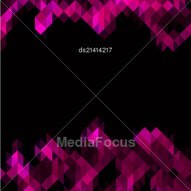 Pink Triangles Set As Frame For Text On Black Background Stock Photo