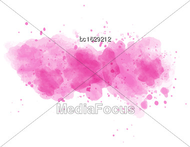 Pink Watercolor Painted Vector Stain Isolated On White Background Stock Photo