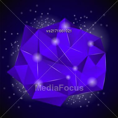 PinkBlue Polygonal Stone Isolated On Dark Background Stock Photo