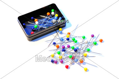 Pins with colored ball-heads Stock Photo