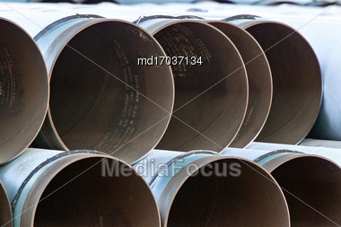 Pipe Pipeline Stacked In Saskatchewan Canada Industry Stock Photo