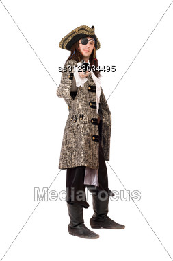 Pirate With A Pistol In Hand. Stock Photo