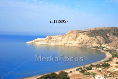 Pissouri Bay In Cyprus.Beautiful Beach Stock Photo