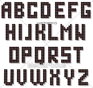 Pixel Alphabet Isolated On White Background. Digital Font Stock Photo