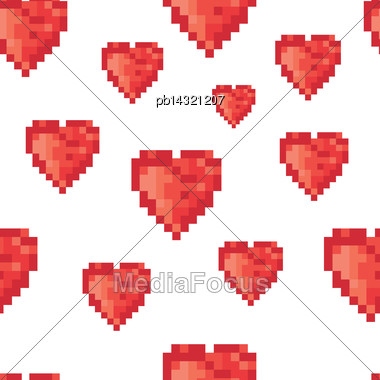 Pixel Heart Seamless Pattern. Vector Stock Photo