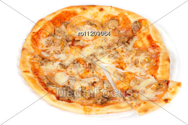 Pizza Closeup With Chicken Fillet, Tomato And Mozzarella Cheese Stock Photo