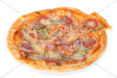 Pizza Closeup With Smoked Meat, Salami, Gherkin, Onion And Mozzarella Cheese Stock Photo