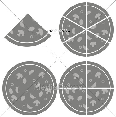 Pizza Icon Isolated On White Background. Silhouette Of Pizza Stock Photo