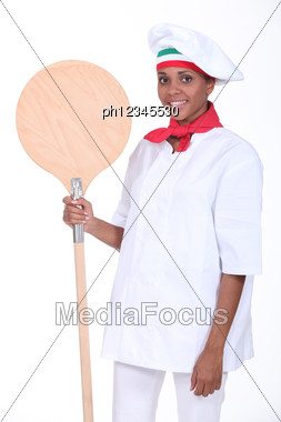 Pizza Maker With Shovel Stock Photo