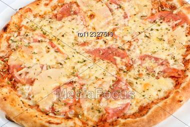 Pizza With Mushrooms, Ham Closeup Stock Photo