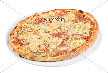 Pizza With Mushrooms, Ham Stock Photo