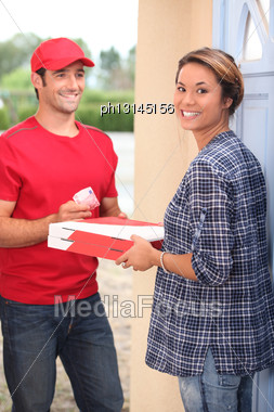 Pizzas Delivery At Home Stock Photo